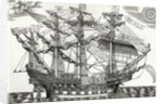 The Ark Raleigh, the Flagship of the English Fleet by English School