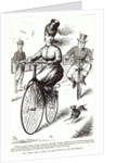 Cartoon of a Lady on a Velocipede by American School