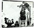 Scaffold with a man about to be hanged by English School
