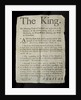 Broadsheet discussing the Madness of King George III by English School
