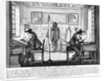 Plate engravers working with gallery behind by Abraham Bosse