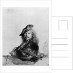 Self portrait leaning on a stone sill by Rembrandt Harmensz. van Rijn