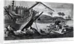 Robinson Crusoe carrying away on his raft the most useful remains of the wreck by English School