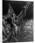 The Mariner gazes on the serpents in the ocean by Gustave Dore