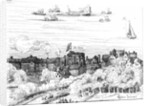The Swan Theatre on the Bankside as it appeared in 1614 by English School