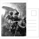 A Drummer and Commander mounted on mules by Rembrandt Harmensz. van Rijn