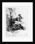 Woman urinating under a tree by Rembrandt Harmensz. van Rijn
