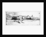 Landscape with a tower by Rembrandt Harmensz. van Rijn