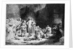 Christ preaching in a rocky landscape by Rembrandt Harmensz. van Rijn