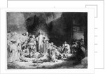 Christ preaching in a rocky landscape by Rembrandt Harmensz. van Rijn
