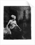 Woman sitting half-dressed beside a stove by Rembrandt Harmensz. van Rijn