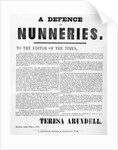 A Defence of Nunneries by Theresa Arundell by English School