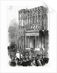 Arrival of the Wellington Statue at the Arch, published in 'The Illustrated London News' by Ebenezer Landells