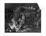 Inside of a Weavers Cottage in Ilay by Scottish School