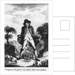 """L'Empereur fit passer son armée entre mes jambres, taken from a French translation of """"Gulliver's Travels"""" by French School"""
