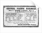 Photographic print of the Central Pacific Railroad Company's original timetable for by American School