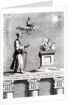 Illustration of Zoroaster worshipping fire and the sun by English School