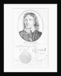 Portrait of Oliver Cromwell from an original by Peter Lely of 1653, and his seal and autographs by English School