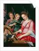 St. Cecilia Accompanied by Three Angels by Michiel I Coxie or Coxcie