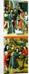 Christ Before Pilate and Christ Carrying the Cross, panel from and altarpiece depicting scenes of the Passion and saints by Master of the Luneburg Footwashers
