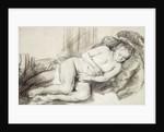 Reclining Female Nude by Rembrandt Harmensz. van Rijn