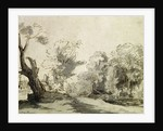 Landscape with a path, an almost dead tree on the left and a footbridge leading to a farm on the right by Rembrandt Harmensz. van Rijn