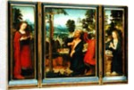 Triptych with St. Jerome, St. Catherine and Mary Magdalene by Adriaen Isenbrandt or Isenbrant