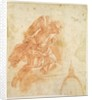 Suspended angel and architectural sketch by Bernardino Barbatelli Poccetti