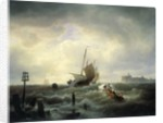 The Entrance to the Harbour at Hellevoetsluys by Andreas Achenbach