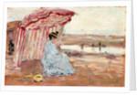Woman Under Beach Umbrella by Eugene Louis Boudin