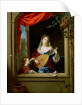 Elegant Lady Playing the Lute at a Window by Philip van Dyck