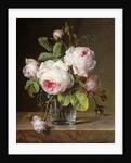 Roses in a Glass Vase on a Ledge by Cornelis van Spaendonck