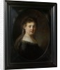 Young Woman in Fantasy Costume by Rembrandt Harmensz. van Rijn