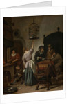 Interior with a Woman Feeding a Parrot, Known as The Parrot Cage by Jan Havicksz. Steen