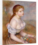 A Young Girl with Daisies by Pierre Auguste Renoir