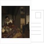 Girl asleep at a table by Jan Vermeer