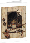 Trompe l'oeil with Studio Wall and Vanitas Still Life by Cornelis Norbertus Gysbrechts