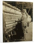 Young doffers replacing full bobbins at North Pownal, Vermont by Lewis Wickes Hine