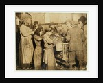 Shuckers aged about 10 opening oysters in the Varn & Platt Canning Company, Younges Island, South Carolina by Lewis Wickes Hine