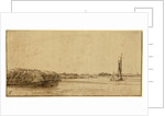 A Sailing Boat on a Wide Expanse of Water by Rembrandt Harmensz. van Rijn