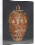 Etruscan lidded pithos with the blinding of Polyphemos by Etruscan