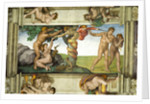 Sistine Chapel Ceiling: The Fall of Man and the Expulsion from the Garden of Eden, with four Ignudi by Michelangelo Buonarroti
