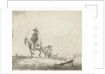 Rider and herdsman with cattle on a dirt road by Adriaen van de Velde