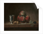 Still Life with Peaches, a Silver Goblet, Grapes, and Walnuts by Jean-Baptiste Simeon Chardin