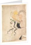Head of Krishna: cartoon for a mural of the Raslila, c.1800 by Indian School