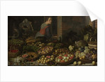 Still Life with Fruit and Vegetables, with Christ at Emmaus in the background, c. 1630 by Floris van Schooten
