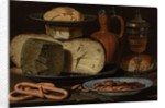 Still Life with Cheeses, Almonds and Pretzels, c.1615 by Clara Peeters