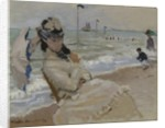 Camille on the Beach in Trouville by Claude Monet