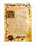 Historiated initial 'A' showing St. Theodore by Italian School