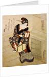 Woman climbing the stairs holding a lamp and a box by Utagawa Sadakage